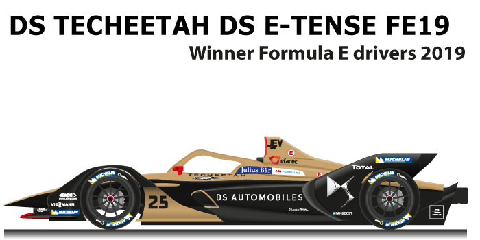 DS Techeetah DS E-TENSE FE19 n.25 winner Formula E Champion 2019