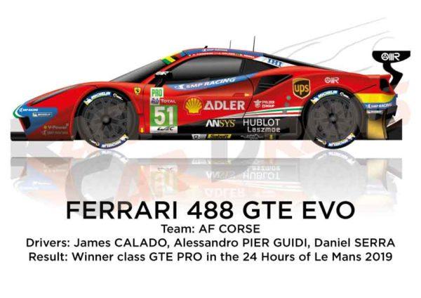 Ferrari 488 GTE EVO n.51 winner GTE PRO 24 Hours of Le Mans 2019
