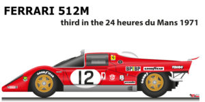 Ferrari 512 M n.12 third in the 24 Hours of Le Mans 1971