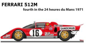 Ferrari 512 M n.12 fourth in the 24 Hours of Le Mans 1971