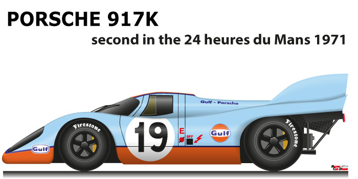 Porsche 917 K n.19 second in the 24 Hours of Le Mans 1971