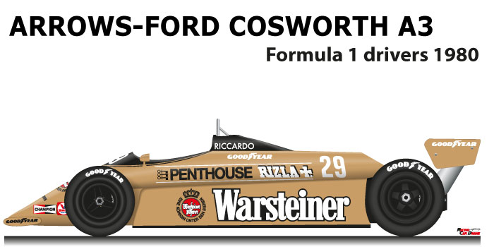 Arrows - Ford Cosworth A3 n.29 ninth Formula 1 World Champion 1980