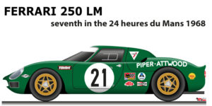 Ferrari 250 LM n.21 seventh in the 24 Hours of Le Mans 1968