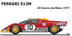 Ferrari 512 M n.10 did not finish in the 24 Hours of Le Mans 1971