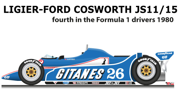 Ligier - Ford Cosworth JS11/15 n.26 fourth in the Formula 1 World Champion 1980