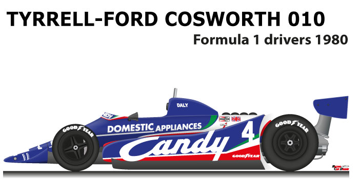 Tyrrell - Ford Cosworth 010 n.4 twelfth in the Formula 1 World Champion 1980 with Derek Daly