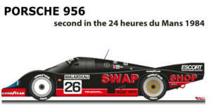Porsche 956 n.26 second in the 24 Hours of Le Mans 1984