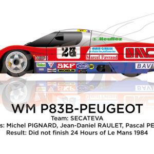 WM P83B - Peugeot n.24 did not finish in the 24 Hours of Le Mans 1984