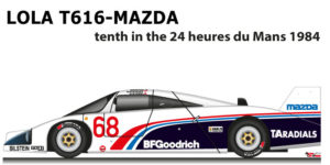 Lola T616 - Mazda n.68 tenth in the 24 Hours of Le Mans 1984