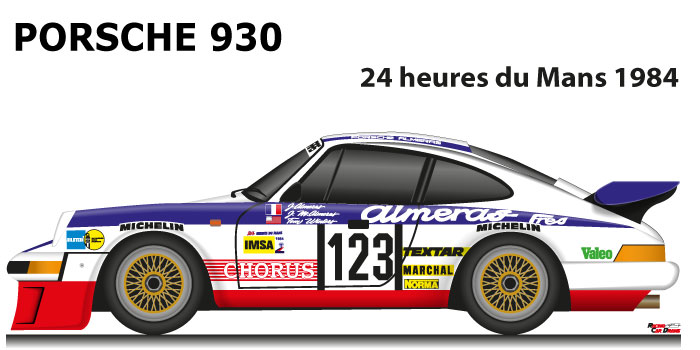 Porsche 930 n.123 eighteenth in the 24 hours of Le Mans 1984