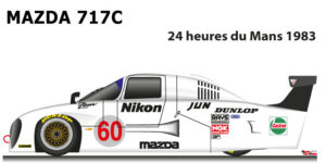 Mazda 717c n.60 twelfth in the 24 Hours of Le Mans 1983