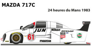 Mazda 717c n.61 eighteenth in the 24 Hours of Le Mans 1983