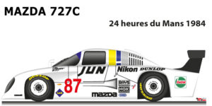 Mazda 727c n.87 fifteenth in th 24 Hours of Le Mans 1984