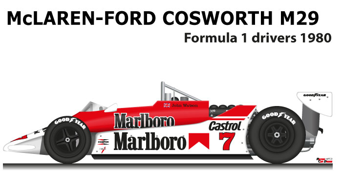 McLaren - Ford Cosworth M29 n.7 eleventh in the Formula 1 World Champion 1980