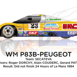 WM P83B - Peugeot n.23 did not finish in the 24 hours of Le Mans 1984
