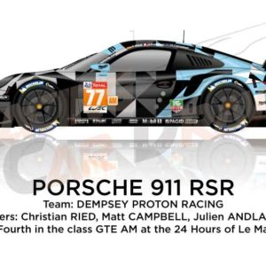 Porsche 911 RSR n.77 fourth in class GTE AM 24 Hours of Le Mans 2019