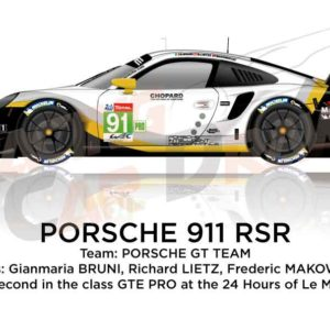 Porsche 911 RSR n.91 second class GTE PRO 24 Hours of Le Mans 2019
