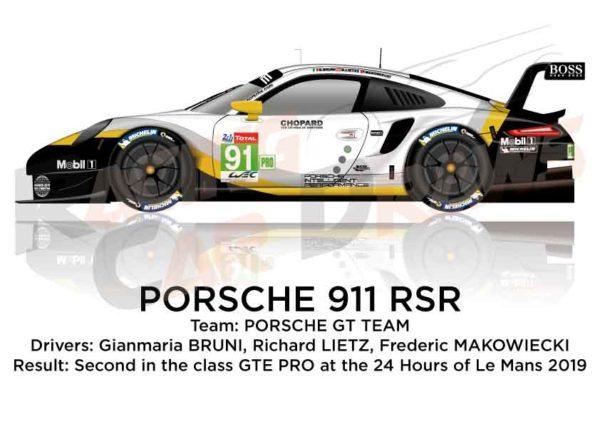 Porsche 911 RSR n.91 second class GTE PRO 24 Hours of Le Mans 2019