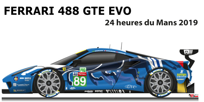 Ferrari 488 GTE EVO n.89 fourty-first in the 24 Hours of Le Mans 2019