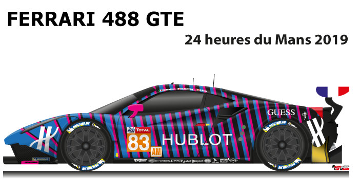 Ferrari 488 GTE n.83 fourty in the 24 Hours of Le Mans 2019