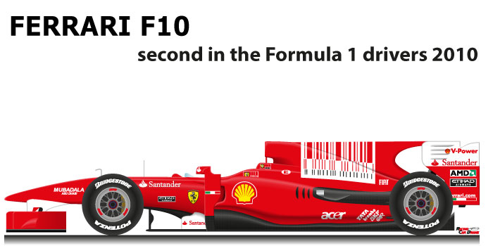 Ferrari F10 n.8 second in the Formula 1 World Champion 2010