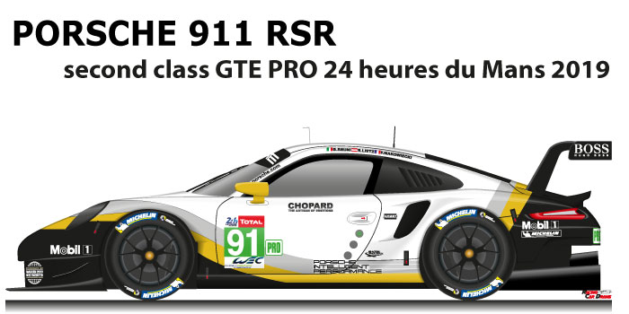 Porsche 911 RSR n.91 second in the class GTE PRO 24 Hours of Le Mans 2019