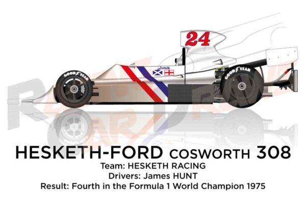 Hesketh - Ford Cosworth 308 n.24 fourth in the Formula 1 1975