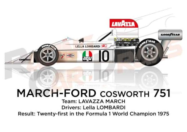 March - Ford Cosworth 751 n.10 twenty-first in the Formula 1 1975