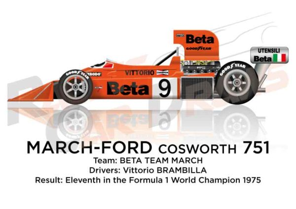 March - Ford Cosworth 751 n.9 eleventh in the Formula 1 1975