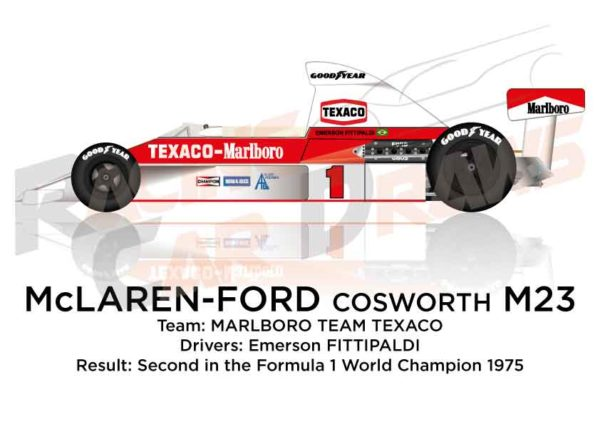 McLaren - Ford Cosworth M23 n.1 second in the Formula 1 1975