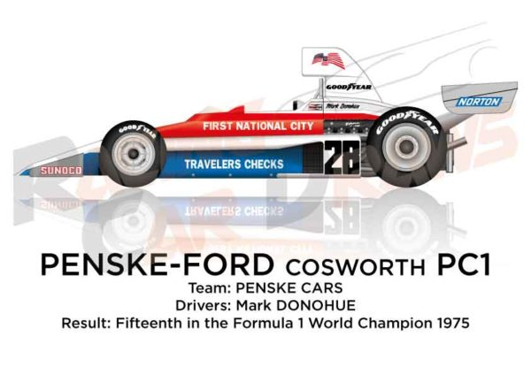 Penske - Ford Cosworth PC1 n.28 fifteenth in the Formula 1 1975