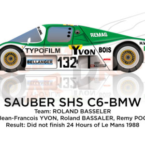 Image Sauber SHS C6 - BMW n.132 did not finish 24 Hours of Le Mans 1988