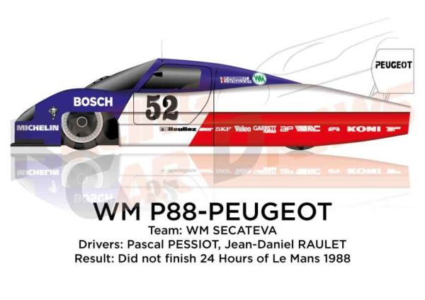 Image WM P88 - Peugeot n.52 Did not finish in the 24 hours of Le Mans 1988