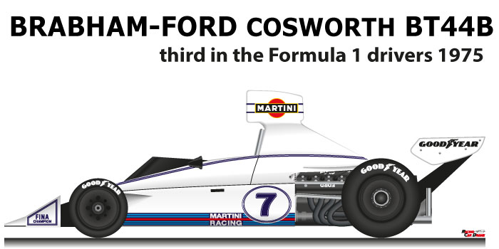 Brabham - Ford Cosworth BT44B n.7 third in the Formula 1 World Champion 1975