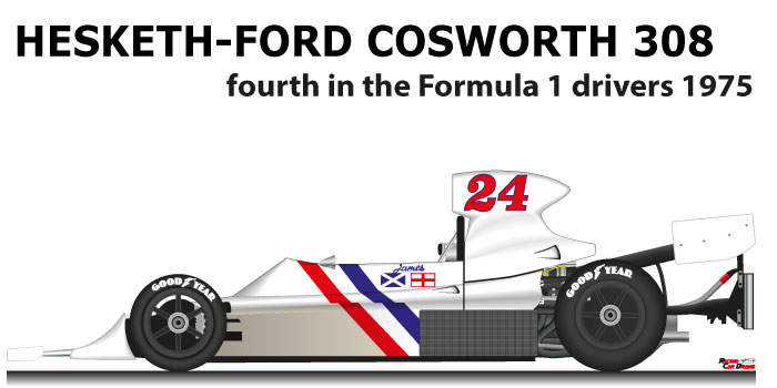 Hesketh - Ford Cosworth 308 n.24 fourth in the Formula 1 World Champion 1975