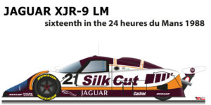 Jaguar XJR-9 LM n.21 sixteenth in the 24 Hours of Le Mans 1988