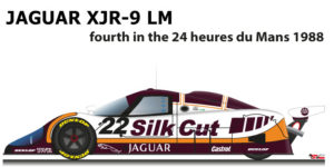 Jaguar XJR-9 LM n.22 fourth in the 24 Hours of Le Mans 1988