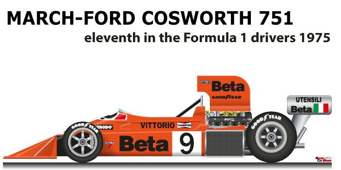 March - Ford Cosworth 751 n.9 eleventh in the Formula 1 World Champion 1975
