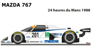 Mazda 767 n.201 seventeenth in the 24 hours of Le Mans 1988