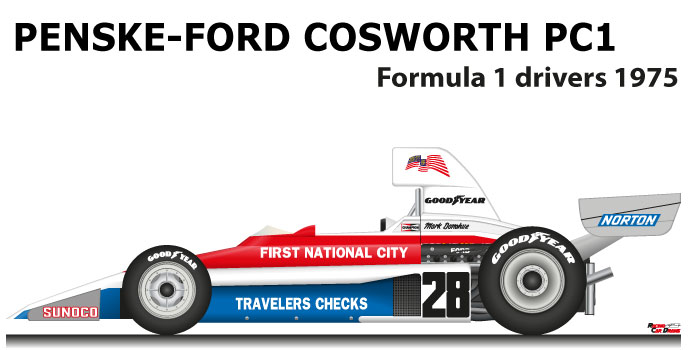 Penske - Ford Cosworth PC1 n.28 fifteenth in the Formula 1 World Champion 1975