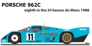 Porsche 962C n.11 eighth in the 24 hours of Le Mans 1988