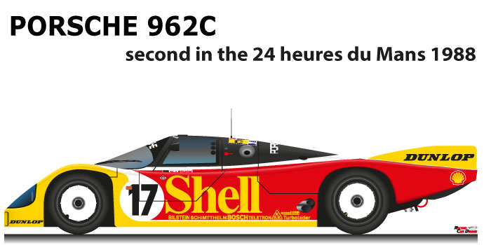 Porsche 962C n.17 second in the 24 hours of Le Mans 1988