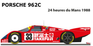 Porsche 962C n.33 tenth in the 24 Hours of Le Mans 1988
