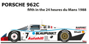 Porsche 962C n.7 fifth in the 24 hours of Le Mans 1988