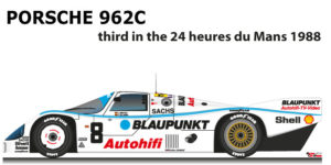 Porsche 962C n.8 third in the 24 hours of Le Mans 1988