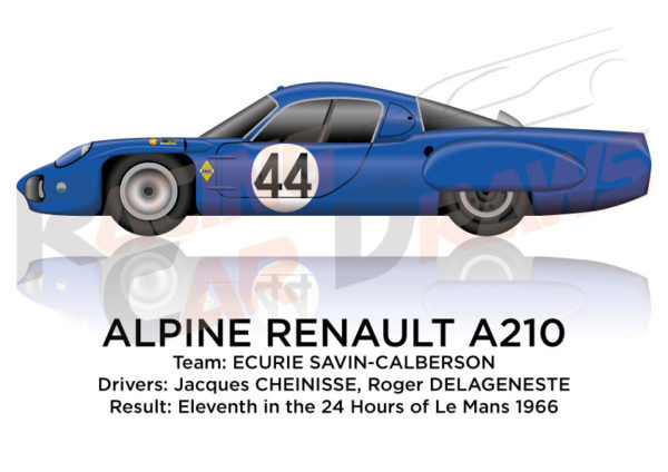 Alpine Renault A210 n.44 eleventh in the 24 Hours of Le Mans 1966