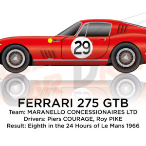 Ferrari 275 GTB n.29 eighth in the 24 Hours of Le Mans 1966