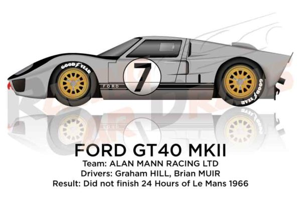 Ford GT40 MK II n.7 did not finish 24 Hours of Le Mans 1966