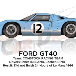 Ford GT40 n.12 did not finish 24 Hours of Le Mans 1966