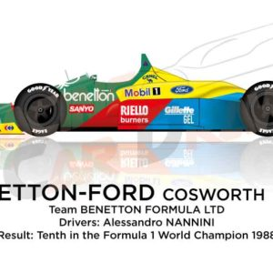 Benetton - Ford Cosworth B188 n.19 tenth in the Formula 1 World Champion 1988